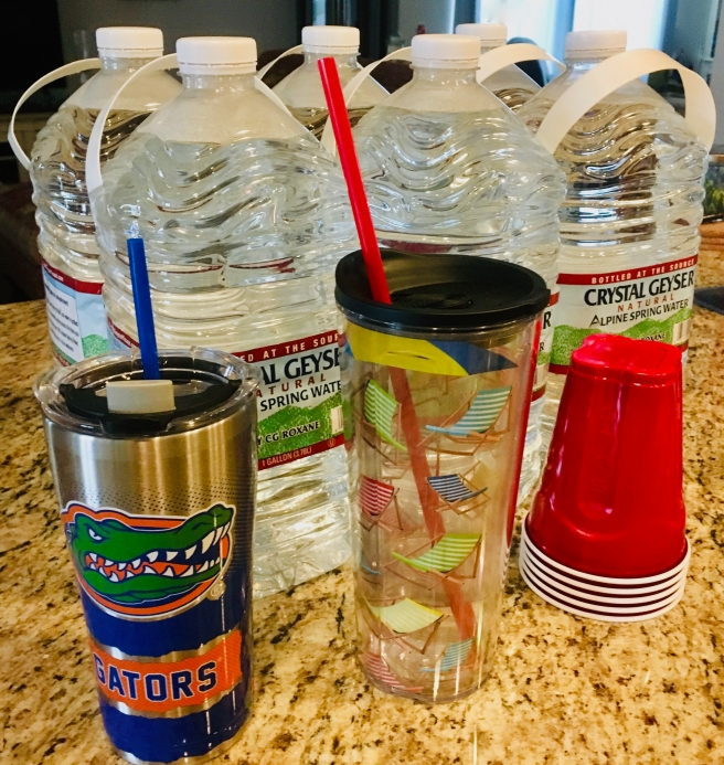6 large bottles of spring water. In the foreground are an aluminum Florida Gators glass, a large, clear glass with beach chairs, and a stack of red, plastic cups.